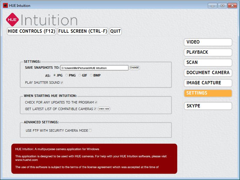 HUE Intuition Settings
