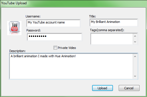 The YouTube upload pop-up in HUE Animation