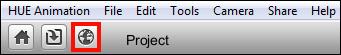 The Export button below the HUE Animation menubar