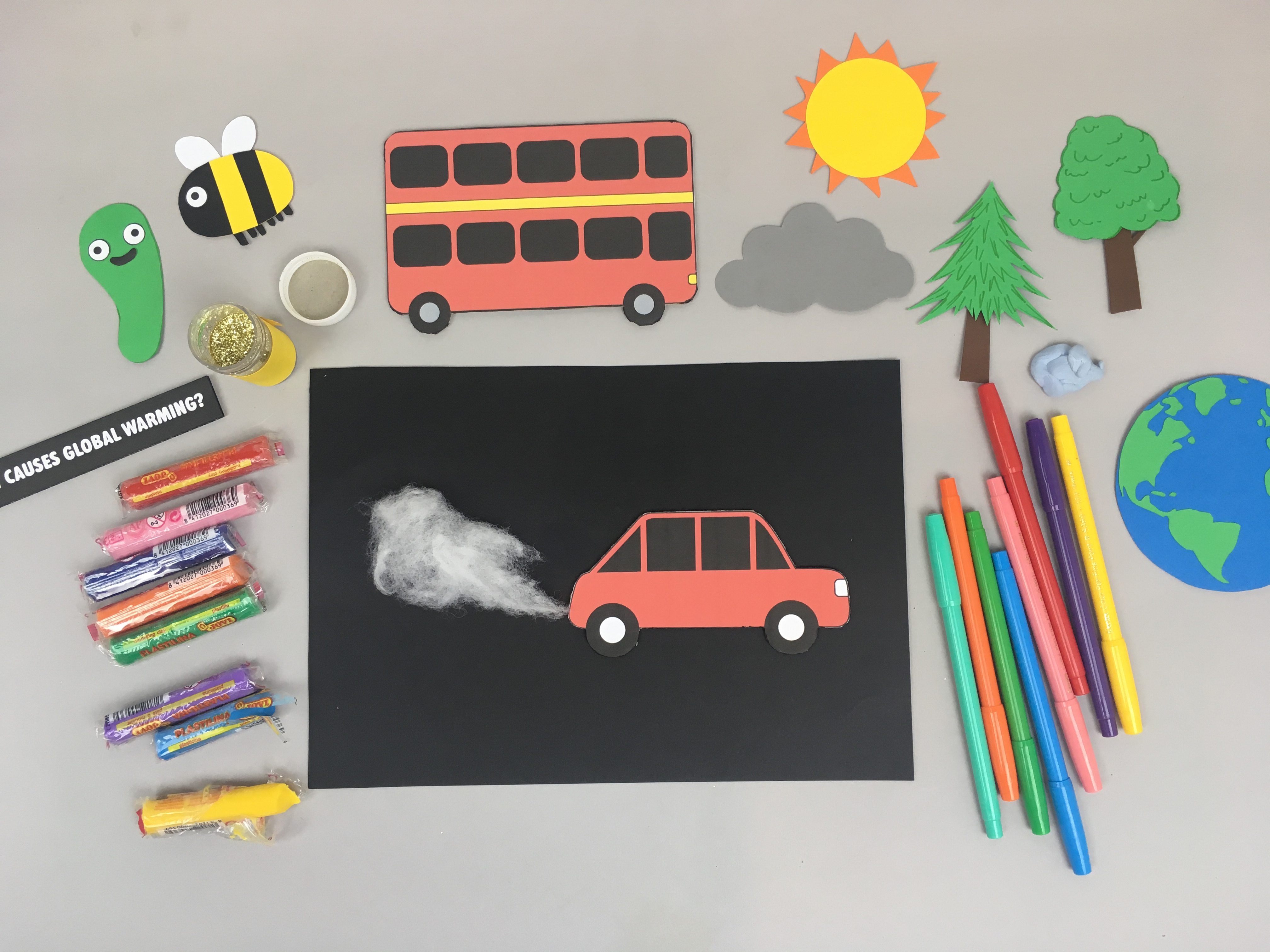 HUE Global Warming animation recording - vehicle pollution