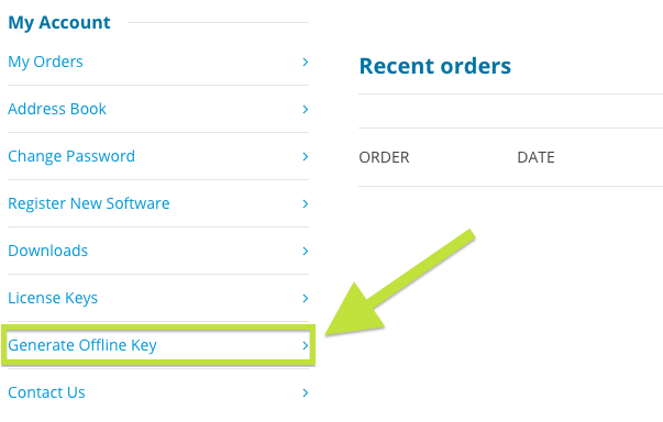 Location of the Generate Offline Key link on the HUE website Account page