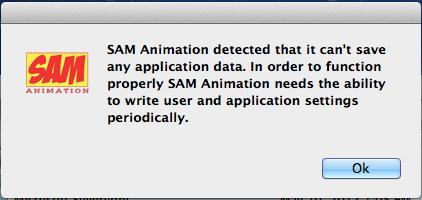SAM Animation settings error