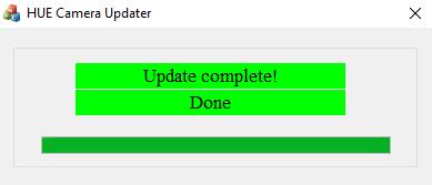 HUE Camera Updater 'Done' message