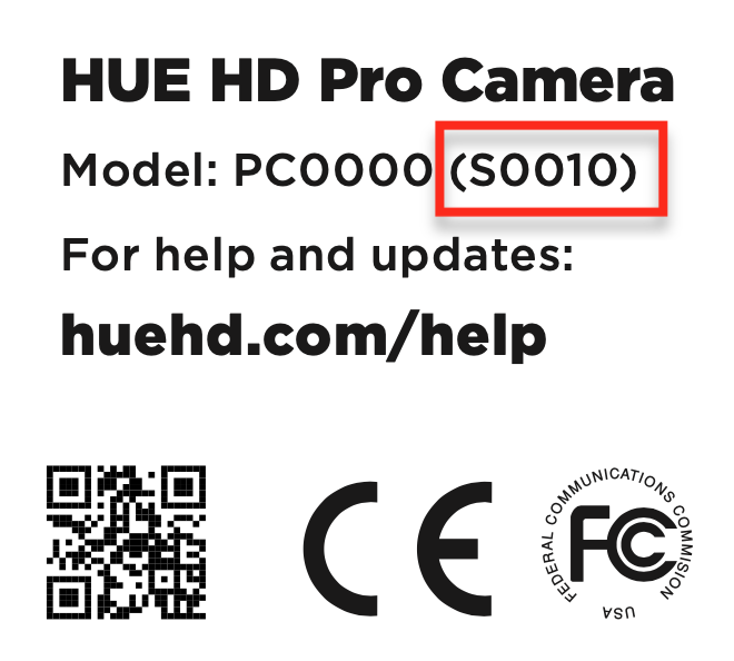 A sample of a HUE cable label showing the camera's batch number
