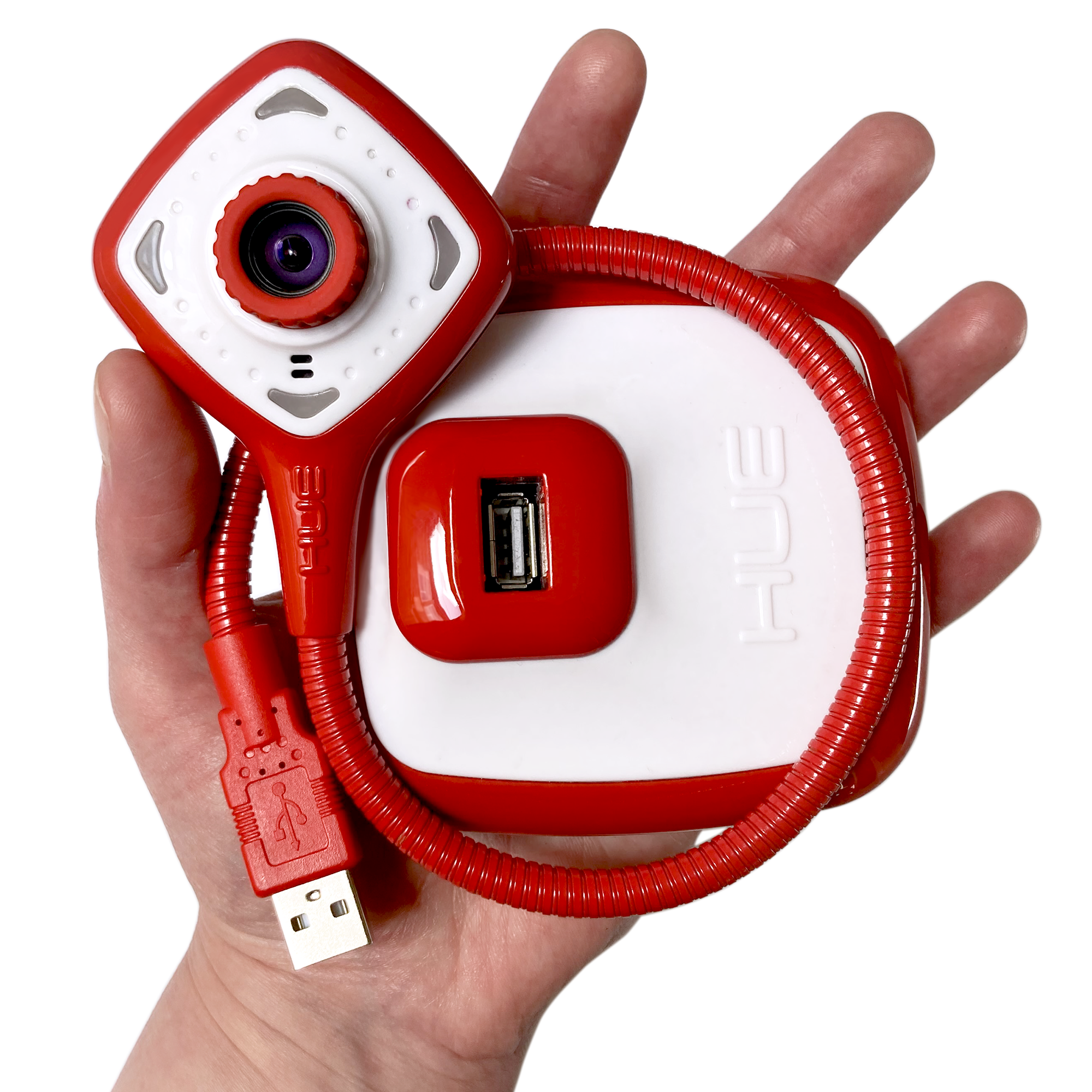 The HUE HD Pro camera in a person's hand